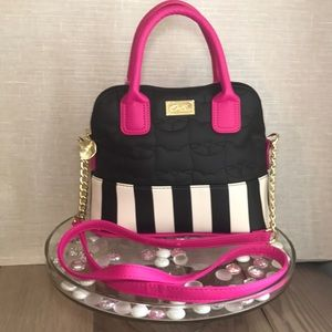 Betsey Johnson Neon Satchel Pink Black Cat Quilted